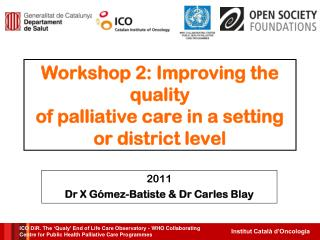 Workshop 2: Improving the quality of palliative care in a setting or district level
