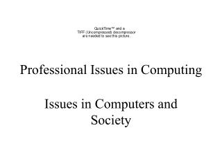 Professional Issues in Computing
