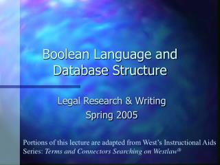 Boolean Language and Database Structure