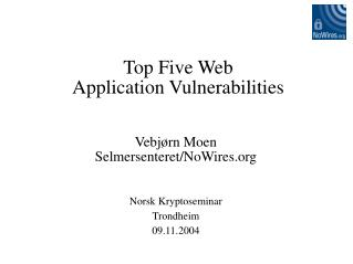 Top Five Web  Application Vulnerabilities