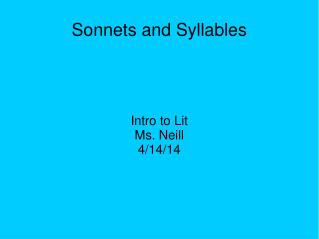 Sonnets and Syllables