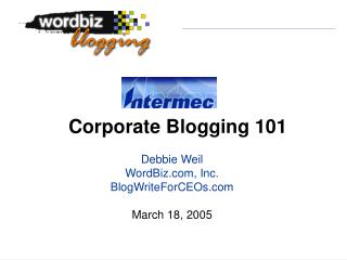 Corporate Blogging 101