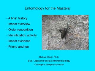 Entomology for the Masters