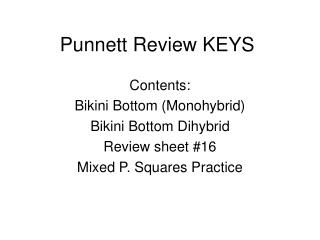 Punnett Review KEYS