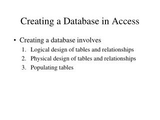 Creating a Database in Access