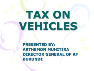TAX ON VEHICLES
