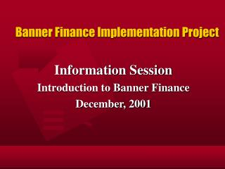 Banner Finance Implementation Project