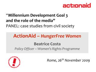 """ Millennium Development Goal 3  and the role of the media"""