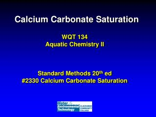 Calcium Carbonate Saturation