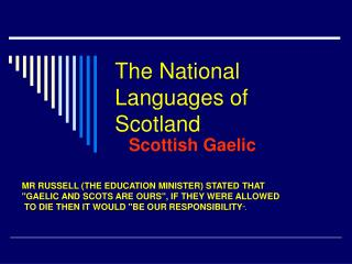 The National Languages of Scotland