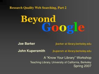 Research Quality Web Searching, Part 2