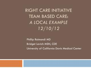 Right Care initiative Team based care:  A local example 12/10/12