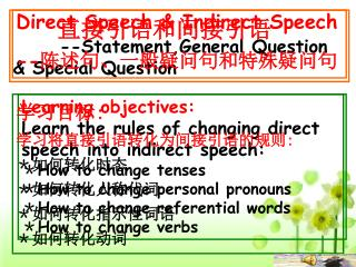 Direct Speech & Indirect Speech --Statement,General Question & Special Question