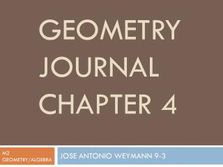 Geometry Journal Chapter 4
