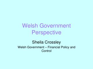 Welsh Government Perspective
