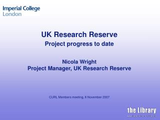 The UK Research Reserve