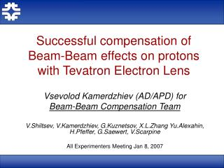 Successful compensation of Beam-Beam effects on protons with Tevatron Electron Lens