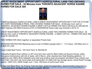 GREAT INVESTMENT OPPORTUNITY AGRICULTURAL LAND TWO ONTARIO F