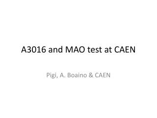 A3016 and MAO test at CAEN