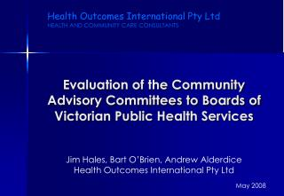 Evaluation of the Community Advisory Committees to Boards of Victorian Public Health Services