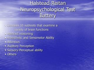 Halstead-Reitan Neuropsychological Test Battery