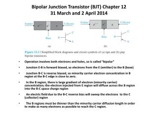 Bipolar Junction Transistor (BJT) Chapter 12 31 March and 2 April 2014