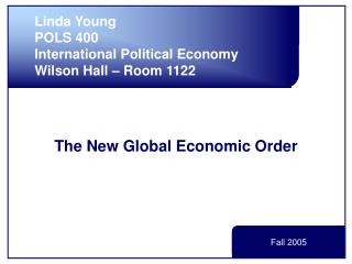 The New Global Economic Order