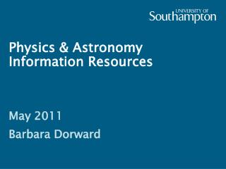 Physics & Astronomy Information Resources