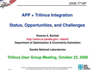 APP + Trilinos Integration Status, Opportunities, and Challenges