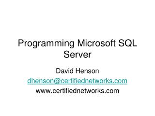 Programming Microsoft SQL Server