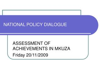 NATIONAL POLICY DIALOGUE