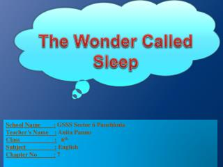 The Wonder Called Sleep