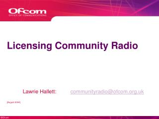 Licensing Community Radio