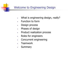 Welcome to Engineering Design