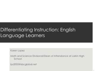 Differentiating Instruction: English Language Learners