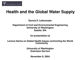 Health and the Global Water Supply