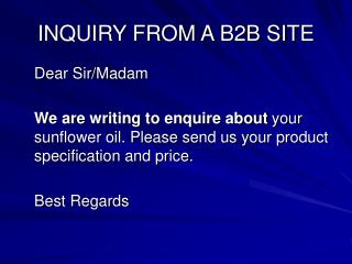 INQUIRY FROM A B2B SITE