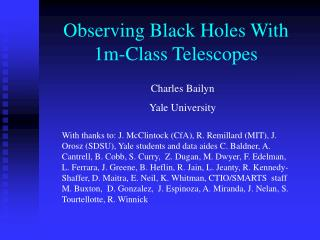 Observing Black Holes With  1m-Class Telescopes