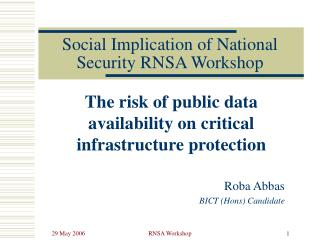 Social Implication of National Security RNSA Workshop