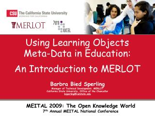 Using Learning Objects Meta-Data in  Education : An Introduction to  MERLOT