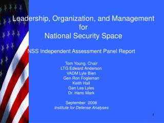 Leadership, Organization, and Management for  National Security Space