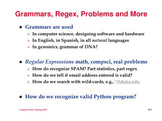Grammars, Regex, Problems and More