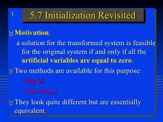 5.7 Initialization Revisited