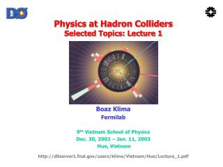 Physics at Hadron Colliders Selected Topics: Lecture 1