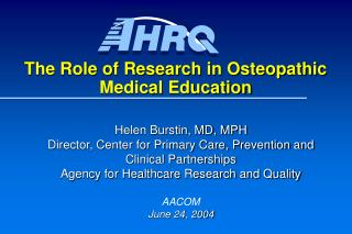 The Role of Research in Osteopathic Medical Education