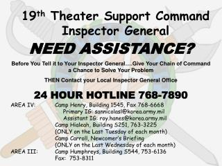 19 th  Theater Support Command Inspector General