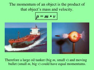 The momentum of an object is the product of that object's mass and velocity.