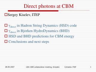 Direct photons at CBM