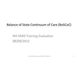 Balance of State Continuum of Care (BoSCoC)