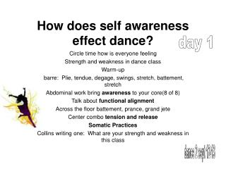 How does self awareness effect dance?